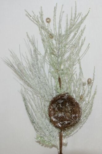 Unbranded  F 17557 Frosted Pine Bird Nest Pick Holiday balls