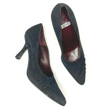 New Vintage Versani Size 6.5 Shoes Pumps Made in Italy Blue Suede Pointe... - $35.28