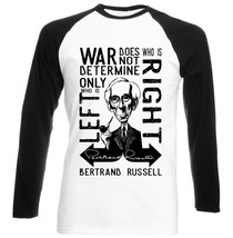 BERTRAND RUSSELL WAR QUOTE - COTTON BLACK SLEEVED TSHIRT- ALL SIZES - $26.98