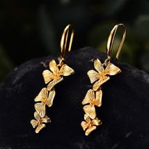 Handmade 18K Gold Triple Flowers Fashion Drop Earrings - $31.69