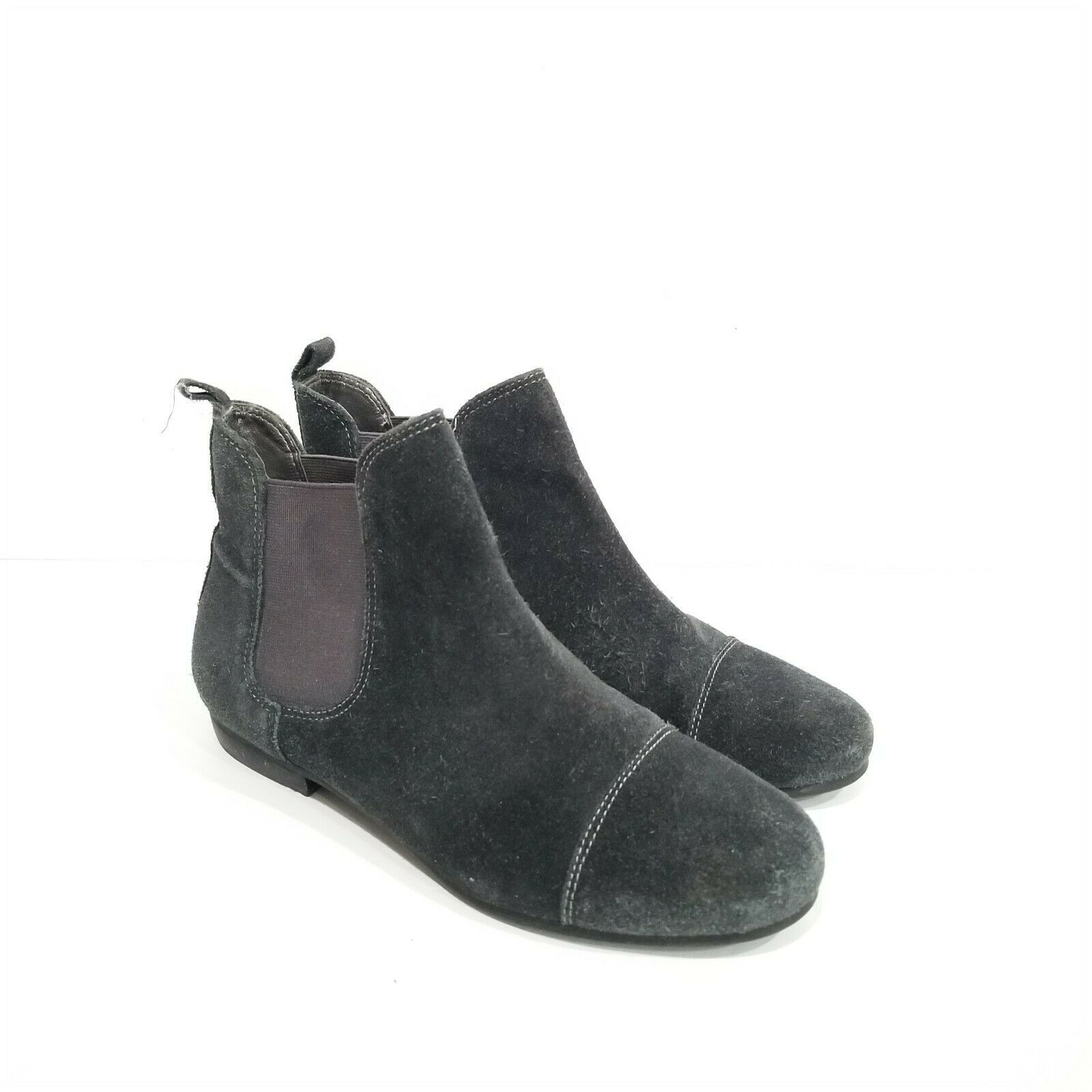 J. Crew Girls Size 4 Booties Gray Black Suede Pull-on Boots - $17.64