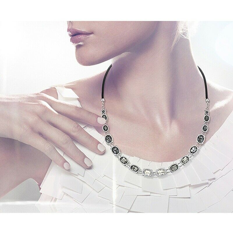 Primary image for AUTHENTIC SWAN SIGNED SWAROVSKI ROSETTE DARK NECKLACE 5007810 NEW