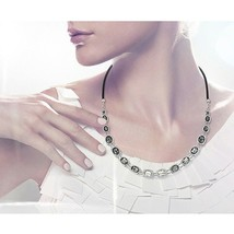 AUTHENTIC SWAN SIGNED SWAROVSKI ROSETTE DARK NECKLACE 5007810 NEW - £90.58 GBP