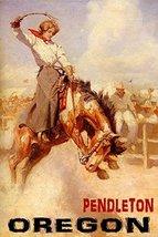 """RODEO PENDLETON OREGON COWGIRL HORSE BRONC RIDING 16"""" X 24"""" IMAGE SIZE V... - $12.64"""