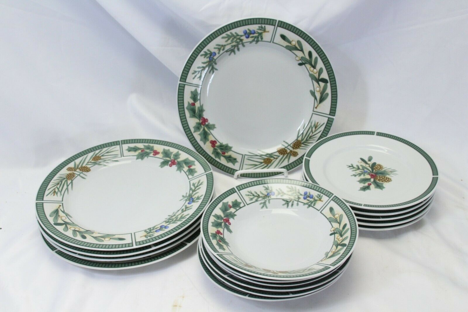 Fairfield Wintergreen Plates and Bowls Lot of 15  Christmas