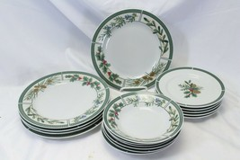 Fairfield Wintergreen Plates and Bowls Lot of 15  Christmas - $58.79