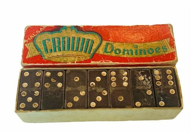 Primary image for Crown Dominoes 1940s toy game original box double six 6 set Embossing Halsam USA
