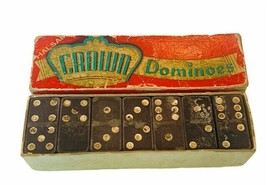 Crown Dominoes 1940s toy game original box double six 6 set Embossing Ha... - $19.69