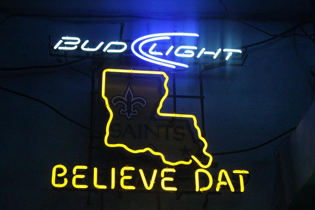 "New Bud Light Believe Dat New Orleans Saints Neon Light Sign 24""x20"""
