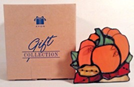 AVON STAINED GLASS PUMPKIN CANDLE HOLDER VOTIVE NEW - $8.50