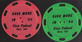 """4 Advertising Toys """"Save More in 1954"""" First Federal, Gary Indiana giveaway - $7.38"""