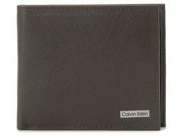 Calvin Klein Ck Men's Leather Wallet Id Billfold RFID Coin Case Brown 79215