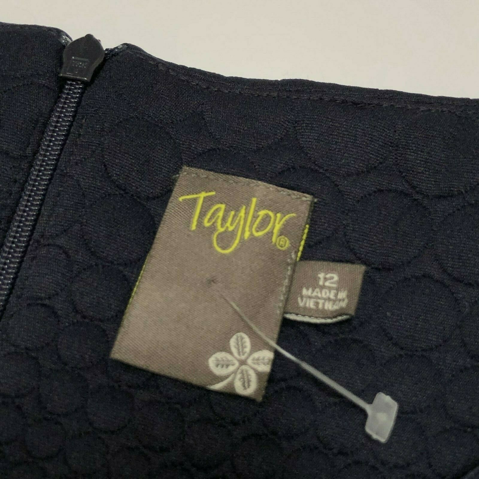Taylor Navy Blue Jacquard Fit and Flare Dress Sleeveless Womens Size 12 NEW