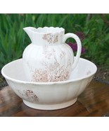 ANTIQUE VICTORIAN PITCHER WASH BOWL WHITE & BROWN TRANSFERWARE AESTHETIC... - $229.99