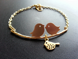Matte Gold Kissing Love Birds Baby Bird Bracelet Bird Family Bracelet - $36.00