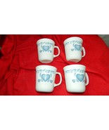 CORELLE CORNING BLUE HEARTS PATTERN COFFEE CUP x 4 GENTLY USED FREE USA ... - $18.69