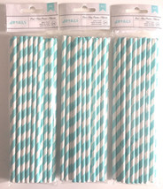 American Crafts Paper 3 Packages 24 Straws Each - Pool Blue Stripes 72 T... - $11.40