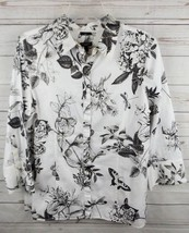 Talbots Shirt Top Size 14 Black White Butterfly Floral Stretch 3/4 Sleeve - $18.99