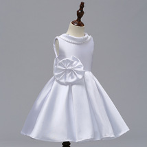 White  Satin Short Flower Girl Dress Scoop Kids Evening Gowns 2019 Newly Kids image 3