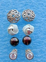 4 SMALL VINTAGE STERLING SILVER  EARRINGS LOT CELTIC KNOT BLACK GENUINE ... - $31.18
