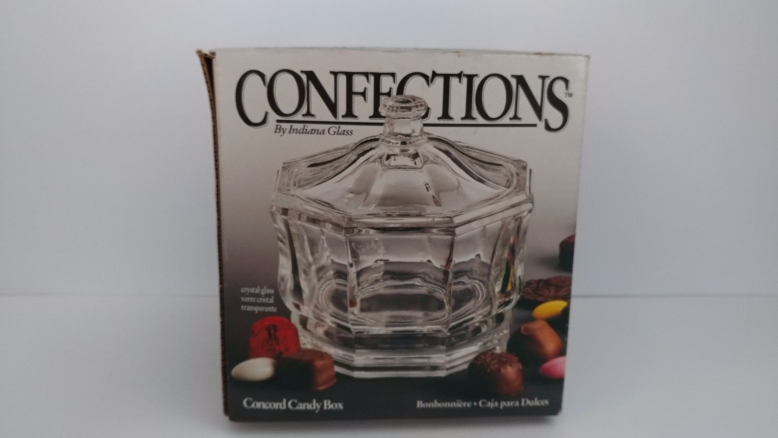 Confections Indiana Glass Concord Crystal Glass Candy Box with Lid New in Box