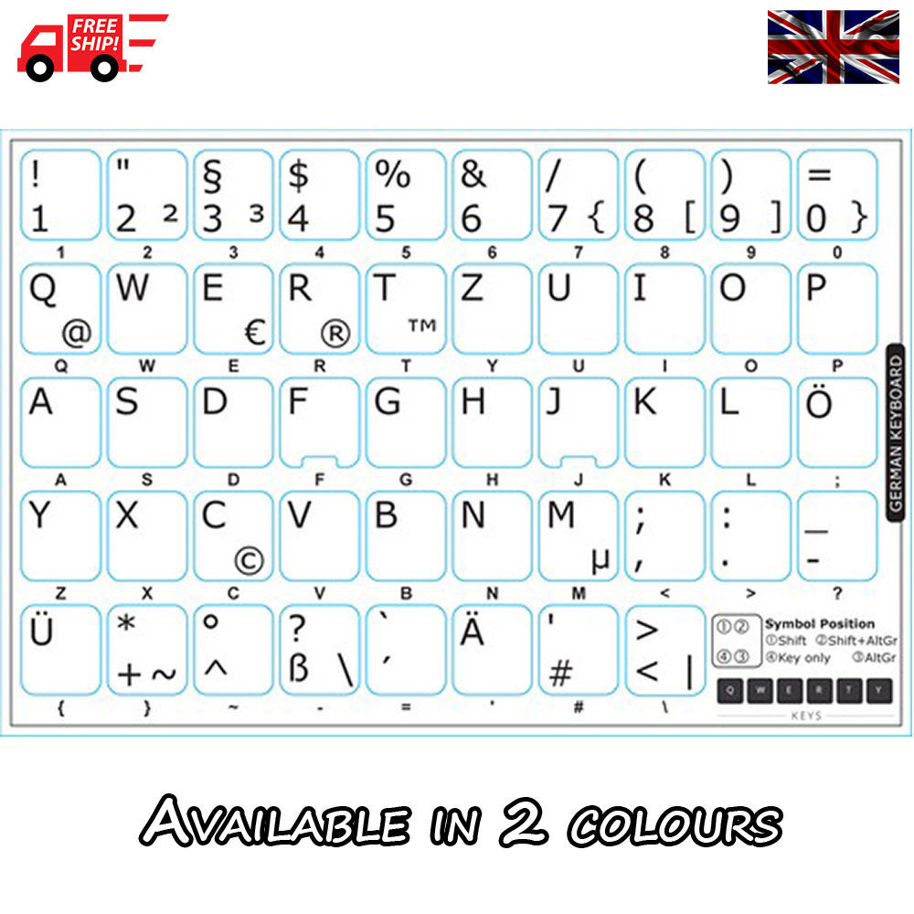German White Keyboard Stickers With Black And 44 Similar Items
