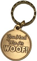You Had Me At Woof Dog Pet Heart Bronze Keychain Paw Print Design - $6.92