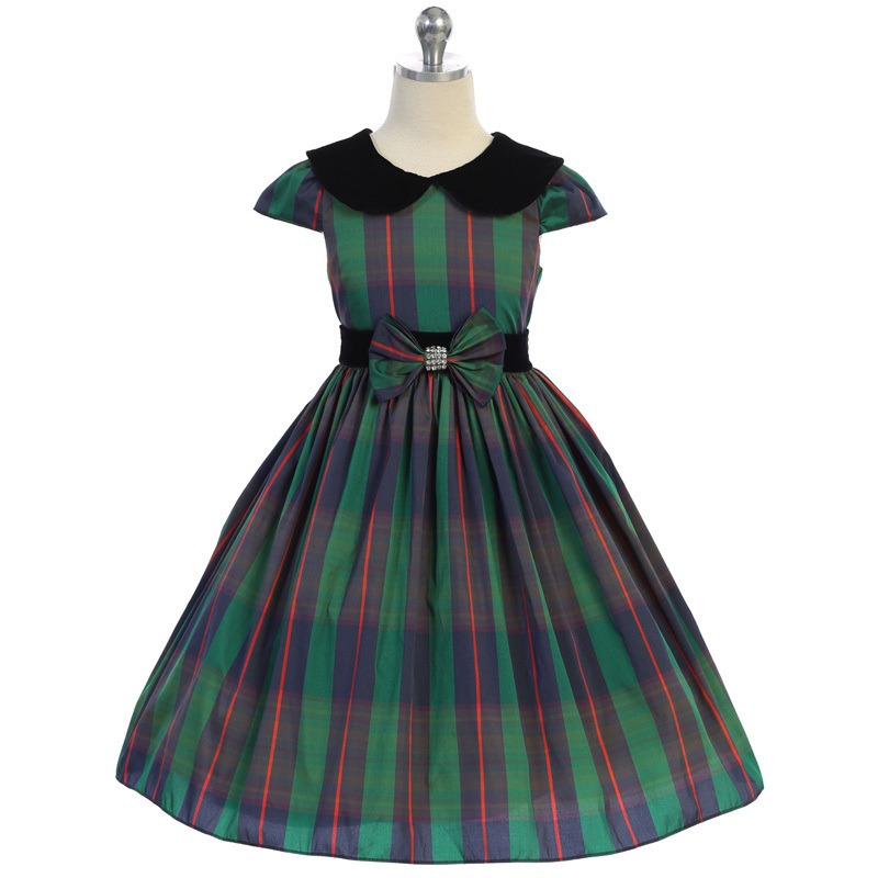 Primary image for Green Classic Plaid Velvet Collar Waist Trim with A Bow Girl Dress