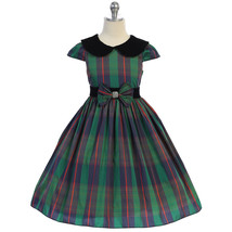 Green Classic Plaid Velvet Collar Waist Trim with A Bow Girl Dress - £28.45 GBP+