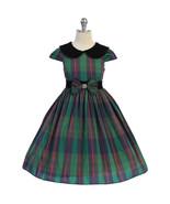 Green Classic Plaid Velvet Collar Waist Trim with A Bow Girl Dress - $37.00+