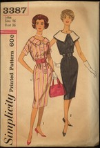 1960s Size 16 Dress Detachable Collar Simplicity 3387 Pattern Sheath Vin... - $6.99