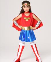Kinder Wonder Woman Kostüm Mädchen Halloween Superheld Kleidung S-XL - $26.38