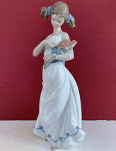 "New Rare Lladro Nao Girl Lady With Pigtails Holding Bouquet Of Flowers 12"" Tall - $118.79"