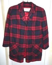 Vtg 1960s Pendleton Red Blue Black Plaid Wool Coat Jacket Size Medium - $59.40