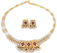 Indian Bridal Necklace Reversible Gold Plated Maroon Green White Pearl Jewelry S - $14.95