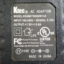 Ktec KSAB0750060W1US AC Adaptor Power Supply 7.5V 0.6A - $16.65