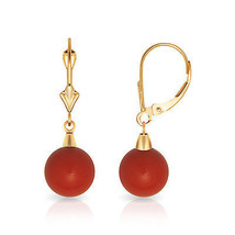 8mm Ball Shaped Red Coral Leverback Dangle Earrings 14K Solid Yellow Gold  - $70.18