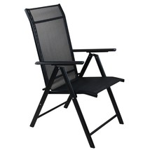 "Northlight 40"" Black Steel and Mesh Foldable Reclining Patio Arm Chair - $92.80"