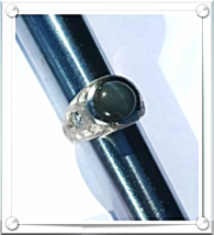 MEN's RING~ FINE DIAMONDS(.60ctw)+CAT'S EYE GrayGreen(8.35ct)+14K W.GOLD... - $1,350.00