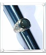 MEN's RING~ FINE DIAMONDS(.60ctw)+CAT'S EYE GrayGreen(8.35ct)+14K W.GOLD... - $1,350.00