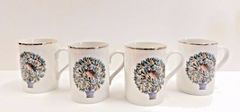 4X Avon Twelve Days of Christmas Partridge Coffee Tea Mugs With Gold Trim  - $16.10