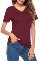 Womens Juniors Short Sleeve T Shirt V Neck Cotton Shirt Casual Top Tee XL NEW - $11.87