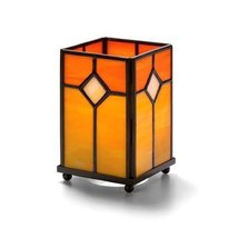 Hollowicks Orange Stained Large Panel Glass Lamp, 5 1/4 inch Height -- 1... - $30.04