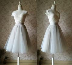 Grey Knee Length Midi Tulle Skirt Gray Full Circle Tulle Skirt Any Size image 2
