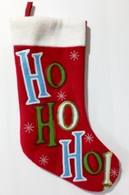Christmas Stocking Ho Ho Ho!  Sequins NEW Snowflakes Red Green Blue White - $14.50