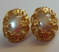 Vintage Oval Faux Pearl Cabochon Floral Filigree Pierced Earrings  - $64.35