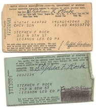 1939 Motor Vehicle Registration Dodge Sdn  & Driver's License Pennsylvania - $3.99