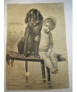 Antique Victorian Trade Card Large 5x7 1880's Black & White Baby w/ Dog ... - $6.89