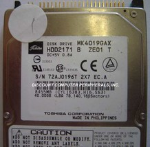 Toshiba MK4019GAX HDD2171 40GB 2.5 inch IDE Drive Free USA Ship Our Driv... - $16.61