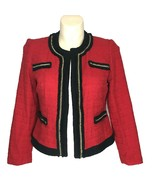 NEW Chicos 2 Blazer Jacket Red Black Fringe Gold Chain Contrast Scarlet M - $134.56